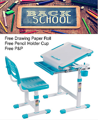 Kids Height Adjustable Study Desk Chair FREE Pencil Cup Free Drawing Paper Roll