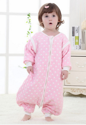 Baby Sleeping Bag with Feet 2.5 tog detachable sleeves Pink Spot