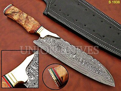 Custom Hand Made Damascus Steel Chef Knife With Olive Wood Handle.