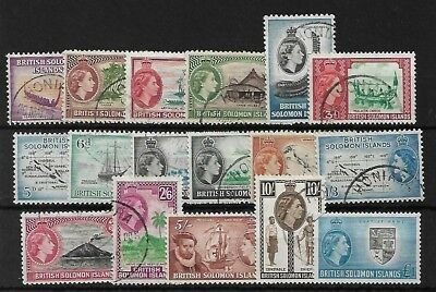 Solomon Islands Sg82/96, 1956-63 Set Fine Used, Cat £60