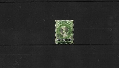 St Helena Sg45, 1/- Yellow Green Used, Cat £30