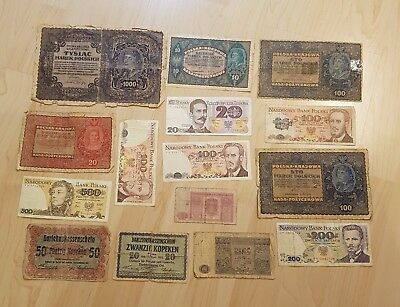 Set of 15 banknotes from Poland 1916-1986