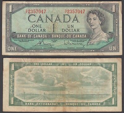 Canada 1 Dollar 1954 (1972-73) Banknote (aVF) Condition P-75c