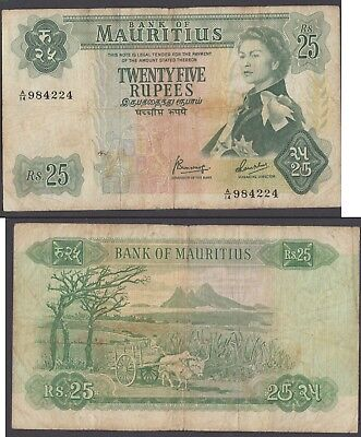 Mauritius 25 Rupees 1967 (F-VF) Condition Banknote P-32 QEII