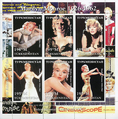 Turkmenistan 1997 MNH Marilyn Monroe 6v M/S Celebrities Movie Stars Stamps