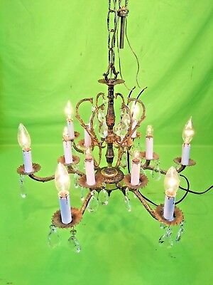 Lrg Vintage Ornate 12 Lights Brass French Empire Spain Chandelier + All Crystals