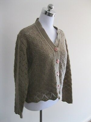 Handmade Beige Brown Knit Cropped Scallop Cardigan 6 8 10
