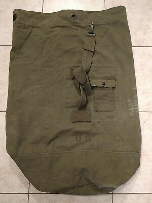 Large US WW2 Military Duffle Bag Tote GC James A Harp AF 32""