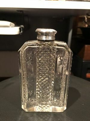 Antique Cut Crystal Flask w/ silver plate lid - Nice - # L