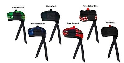 New Scottish Black Wool Glengarry Hat with Red Pompom 6 Designs