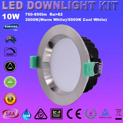 Satin Chrome Dimmable 10W Led Downlight Kit Warm&cool White Ip44 5 Yrs Warranty