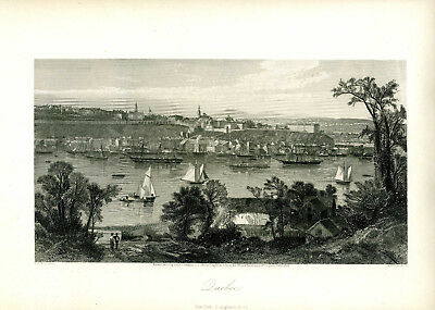 1874 Genuine Antique print city of Quebec, Canada. Finely engraved. Appleton