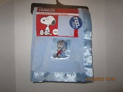 Peanuts LINUS Blue Soft Satin Security Thumb Lovey Snoopy Blanket 50 x 60