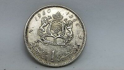 1960-MOROCCO-King-Sultan-MOHAMMED-V-SILVER-1-Dirham-Coin-Coat-of-Arms c pics950