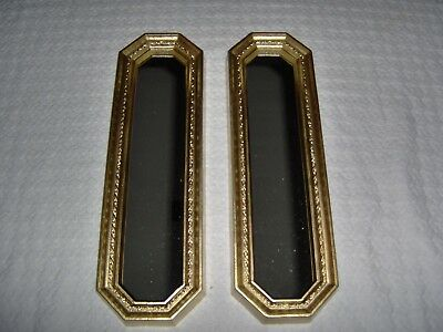 """Pair HOME INTERIOR GOLD FRAMED ACCENT MIRRORS 18"""" x 5.5Picture Accent VERY NICE"""