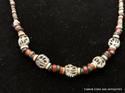 Ancient Egyptian Beads, Carnelian And Roman Glass Necklace; Open Work Wedjats!