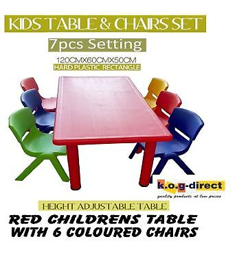 ACTIVITY TABLE RED WITH 6 MIX COLOUR CHAIRS  FOR CHILDREN TODDLER KIDS 120X60cm