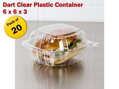 Pack of 20 Small Clear Plastic Hinged Lid Food Container 6x6X3 for Sandwich Cake