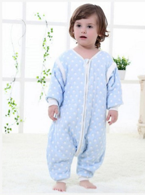Baby Sleeping Bag with Feet 2.5 tog detachable sleeves Blue spot