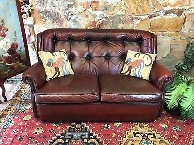 Vintage Chesterfield Leather MORAN BARCELONA 2 Seater Sofa-Lounge-Chair