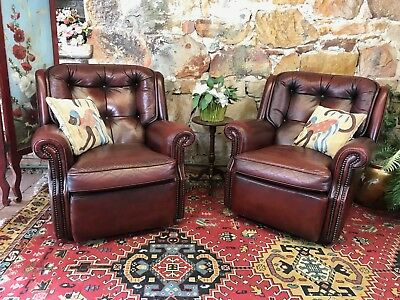 2 x Vintage Chesterfield Leather MORAN BARCELONA Armchairs-Lounge-Chair