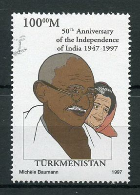 Turkmenistan 1997 MNH India Independence 50th Anniv Gandhi 1v Set Stamps