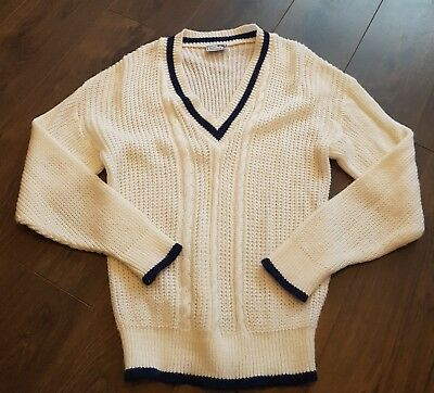 VINTAGE LADIES deep V NECK JUMPER MISS SPARKS cricket style cable knit white xl