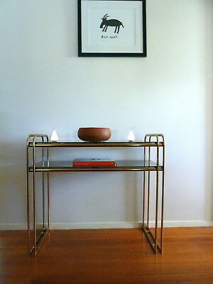 Vintage Retro Mid Century Sideboard Hollywood Regency Brass Glass Hall Console
