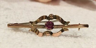 ANTIQUE VINTAGE EDWARDIAN 9ct GOLD SWEETHEART BROOCH-PINK STONE-RIBBONS FLOWING