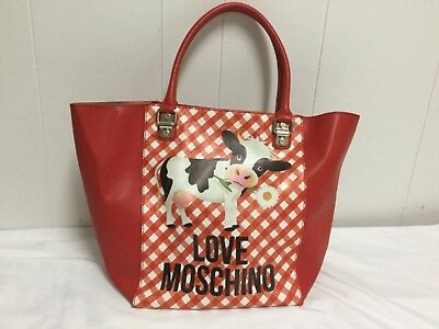 Love Moschino Cow Gingham Print Leather Tote Bag Red Nwt