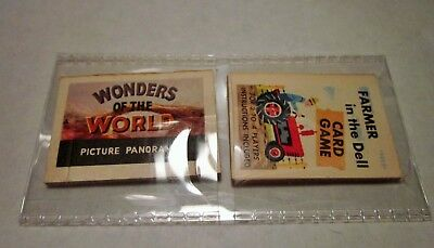 Vintage Cracker Jack paper little books, Panorama and Farmer in the dell game.