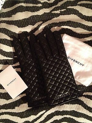 Guanti In Pelle Trapunta Firmati Givenchy Interno In Cachemire Outlet Affare-50%