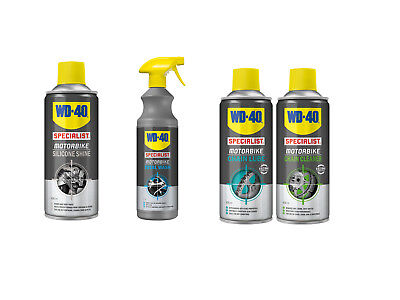 WD40 Specialist Motorcycle Cleaning Kit - Chain Cleaner - Lube - Wash - Silicone
