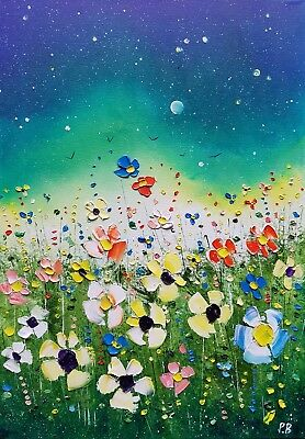 Northern lights & Meadow Flowers, a large, original oil painting, by Phil Broad