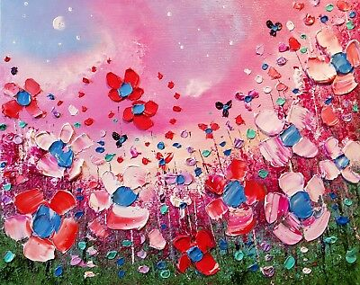 Pink meadow flowers in love, original floral oil painting on canvas, Phil Broad