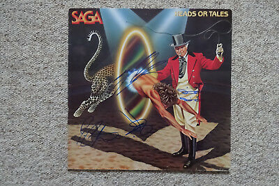 """Saga Band Autogramme signed LP-Cover """"Heads Or Tales"""" Vinyl"""