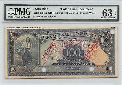 Costa Rica  100 Colones ND. 1933  P 183cts  Specimen Uncirculated Banknote