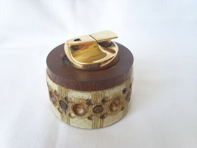 "Vintage JERSEY POTTERY Ronson TABLE Cigarette LIGHTER Midcentury 7.5 cm 3"" diam"