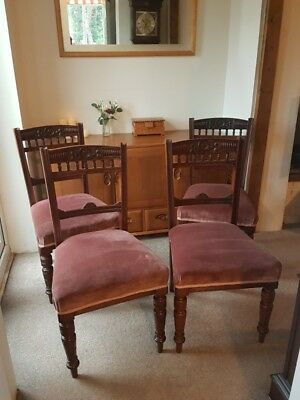 Four antique Mahogany Dining Chairs carved frame sprung seat