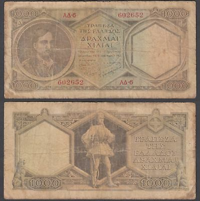 Greece 1000 Drachmai ND 1947 (VG-F) Condition Banknote KM #180