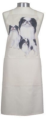 Japanese Chin Group Dog Natural Cotton Apron Double Pockets Baker Cook Gift