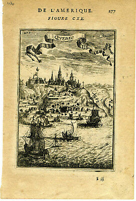 1683 Genuine Antique map early city of Quebec, Canada. A. M. Mallet