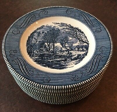 Currier And Ives Blue By Royal Set Of 12 Dinner Plates