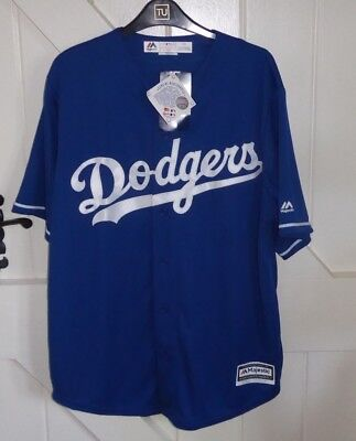 Los Angeles Dodgers LARGE (MORE LIKE XL) Blue MLB Cool Base Jersey BNWT CHEST 50