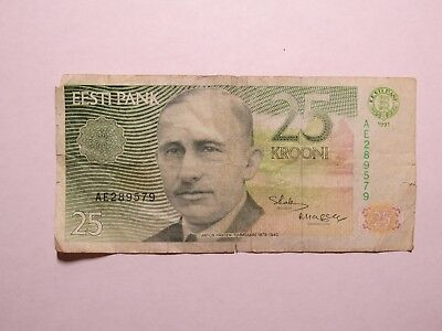 Old Estonia Paper Money Currency - #73 1991 25 Krooni - Well Circulated
