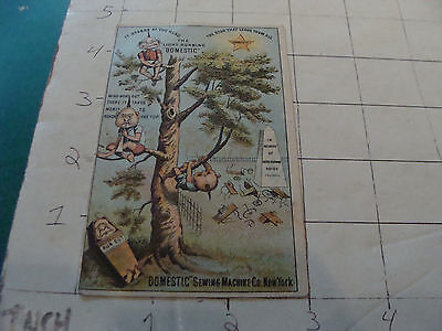 "vintagel Trade Card: ""DOMESTIC"" SEWING MACHINE co --very strange people in tree"