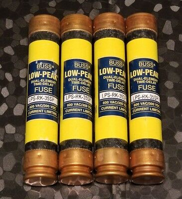New Lot of 4 Bussmann LPS-RK-35SP Amp Fuses Low-Peak 600V