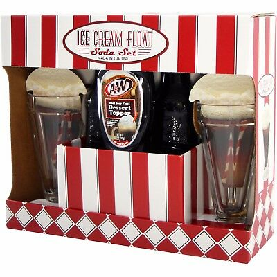 A&w Root Beer Ice Cream Float Soda Holiday 5 Pc Gift Set, Original Formula Ibc!