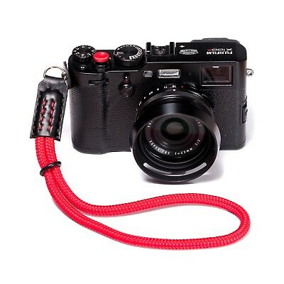 Red Braided Cord Rope Hand Camera Strap - Black Leather - Fits Fuji, leica Etc