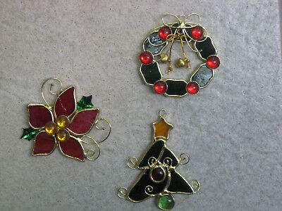 Stained glass sun catcher poinsettia, tree, wreath Christmas window group